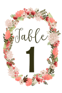 Wedding Table Number Label - Floral Wreath