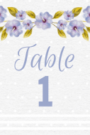 Wedding Table Number Label - Purple Floral