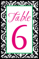 Wedding Table Number Label - Black & White Damask