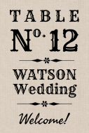 Wedding Table Number Label - Country Style