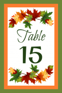 Wedding Table Number Label - Leaves Table Number