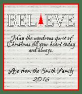 Holiday Wine Label - Believe