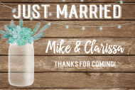 Wedding Mini Wine Label - Rustic Mason Jar