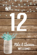 Wedding Table Number Label - Rustic Mason Jar