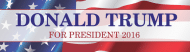 Bumper Sticker - Donald Trump For President 2016