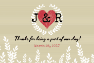 Wedding Mini Wine Label - Kraft Paper Heart