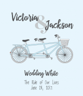 Wedding Wine Label - Bicycle for Two