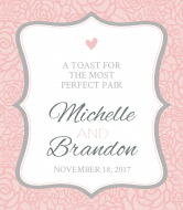 Wedding Wine Label - Pink and Gray