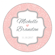 Wedding Sticker - Pink and Gray