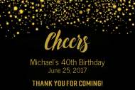 Celebration Mini Wine Label - Cheers Gold Glitter