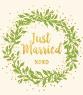 Wedding Wine Label - Gilded Wreath
