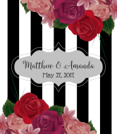 Wedding Wine Label - Realistic Roses & Stripes