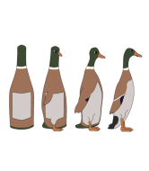 Wine Label - Bottle And Duck