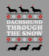 Wine Label - Dashhund Through The Snow