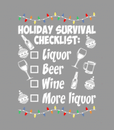 Holiday Wine Label - Holiday Survival Checklist Beer Wine Christmas