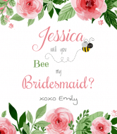 Wedding Wine Label - Bee My Bridesmaid