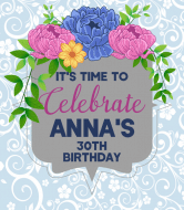 Birthday Wine Label - Blue Floral Frame