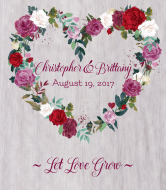 Wedding Wine Label - Watercolor Floral Wreath