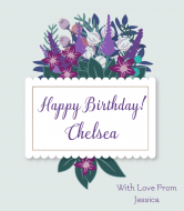 Birthday Champagne Label - Flowers & Foliage Frame