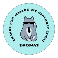 Birthday Sticker - Cool Cat