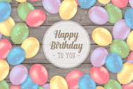 Birthday Growler Label - Balloons on Wood Background
