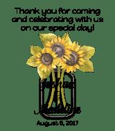 Wedding Wine Label - Sunflower Mason Jar