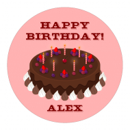 Birthday Sticker - Birthday Chocolate Cake