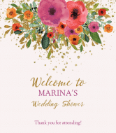 Wedding Champagne Label - Watercolor Poppies