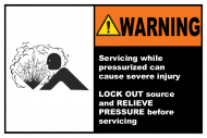 Safety Label - Lock Out and Relieve Pressure Label