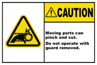 Safety Label - Moving Parts Can Pinch & Cut