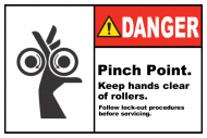 Safety Label - Pinch Point Keep Hands Clear