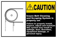 Safety Label - Ensure Belt Cleaning System Is Set