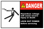 Safety Label - Hazardous Voltage Lock-Out