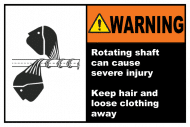 Safety Label - Keep Hair & Loose Clothing Away