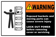 Safety Label - Exposed Buckets & Moving Parts