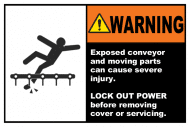 Safety Label - Exposed Conveyors & Moving Parts