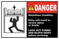 Safety Label - Lock Out Power & Block Hoist