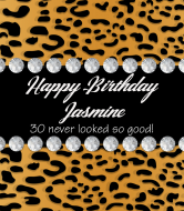 Birthday Champagne Label - Leopard Print Bling