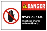 Safety Label - Machine Starts Automatically