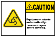Safety Label - Equipment Starts Automatically