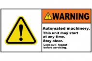 Safety Label - Warning Automated Machinery