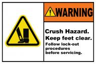 Safety Label - Crush Hazard Lock-Out Tagout