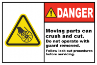 Safety Label - Moving Parts Can Crush & Cut
