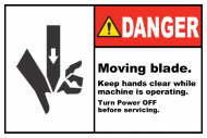 Safety Label - Moving Blade Keep Hands Clear