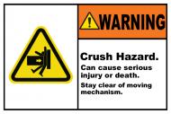 Safety Label - Crush Hazard Stay Clear
