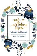 Wedding Oval Beer Label - The Adventure Begins