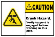 Safety Label - Crush Hazard Verify Support