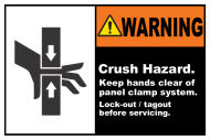 Safety Label - Crush Hazard Lock-Out Tagout