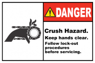 Safety Label - Crush Hazard Keep Hands Clear