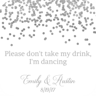 Wedding Drink Coaster - Silver Confetti
